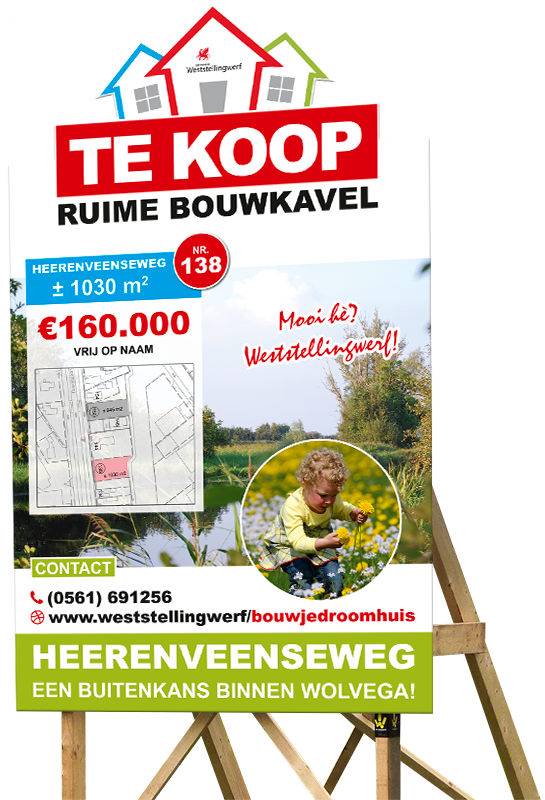 Bouwbord Heerenveenseweg smal